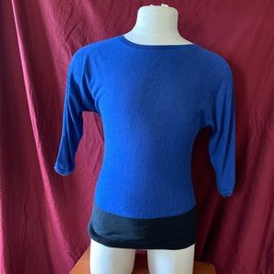 Talbots blue and black color block sweater.